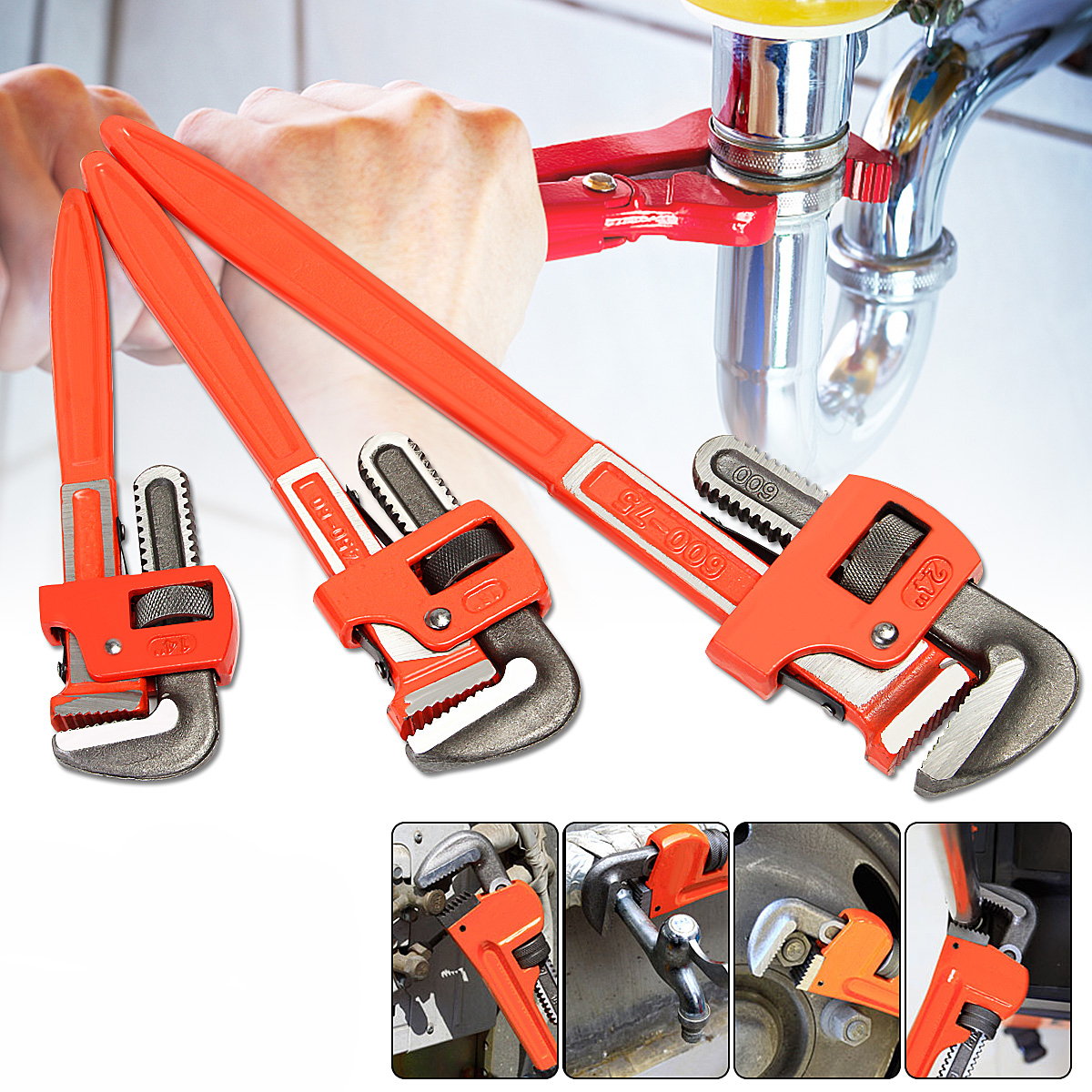 3 Pc Aluminum Pipe Wrench 14