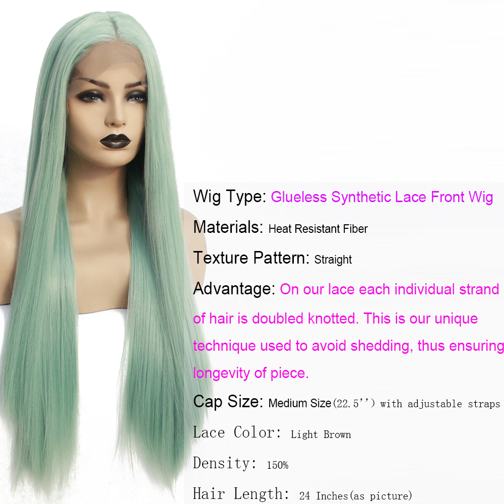 V'NICE Long Straight Realistic Looking Mint Green Wig Hair Heat Resistant Fiber Synthetic Lace Front Braid Cosplay Wigs