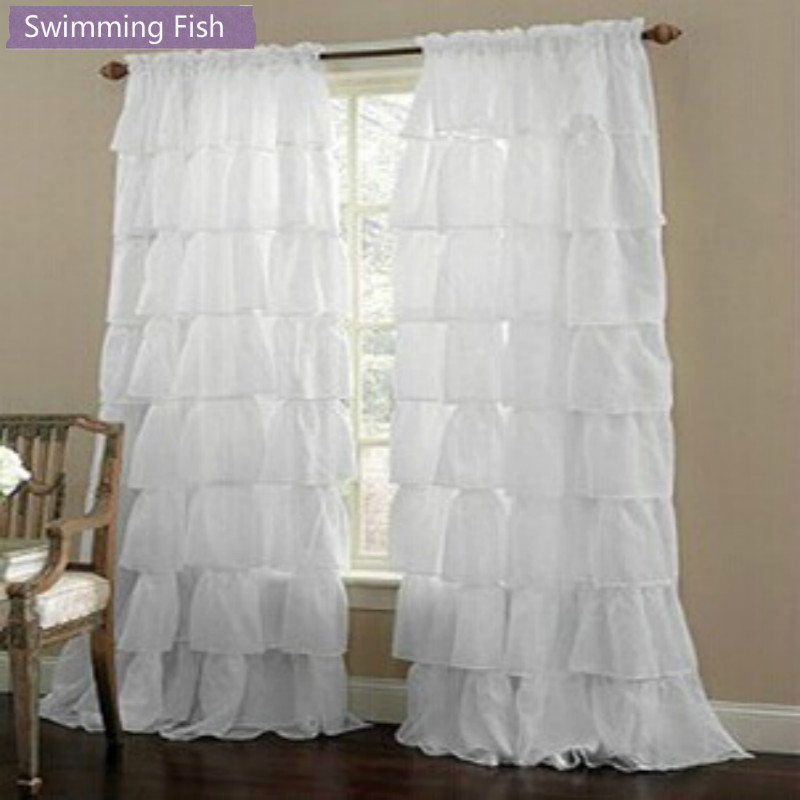 Custom Made Multi-layer Lace Tulle Curtain For Girl's Bedroom Semi-shade Window Blinds Sheer Curtain Rod Pocket/ Hook Top