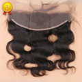 7A Grado 13x4 Cierre Frontal Llena del Cordón Con El Pelo Del Bebé, Onda Brasileña Del Cuerpo Humano de la Virgen Del Pelo Frontal cierre de los Nudos Blanqueados