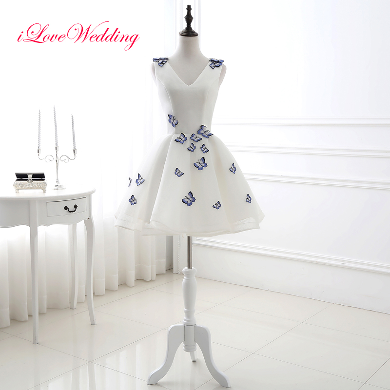 Fashion White Cocktail Dresses A Line V Neck Lace Up Back Little Party Dress Mini Dress With Butterfly Applique Short Dress