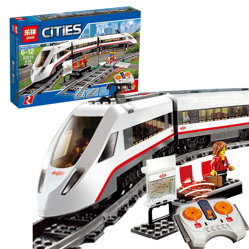 Lepin 02010 New Creator Series The High-speed Passenger Train Remote-control Trucks Set Building Blocks Bricks Toys gift 60051 lepin 02010 610pcs city series building blocks rc high speed passenger train education bricks toys for children christmas gifts
