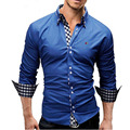Gola dupla Camisa de Algodão Dos Homens Boutique de EUA Tamanho S ~ 3XL Regulares Camisas de Manga Longa, Casual Camisa Slim Fit, 10 Cores Opcional