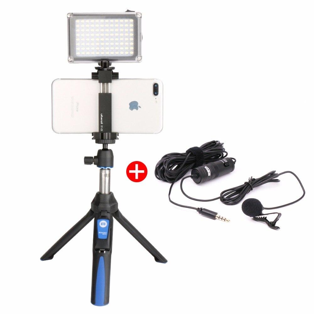 Ulanzi Selfie Bâton Trépied w/BY-M1 Micro Lampe Vidéo LED En Aluminium de Support de Trépied De Téléphone pour iPhone Vidéo Youtube En Direct