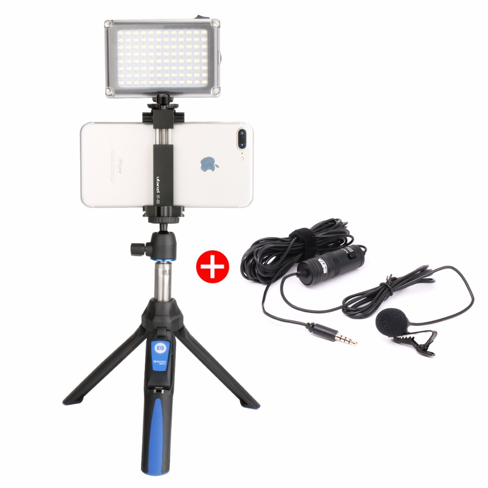 Ulanzi Selfie Stick Treppiede w/BY-M1 Microfono Luce Video LED di Alluminio Del Telefono Treppiede per iPhone Video Youtube Livestream