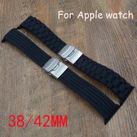 22mm 24mm Silicone Rubber Band For 38mm 42mm IWatch Apple Watch Sport Edition Stainless Steel Buckle