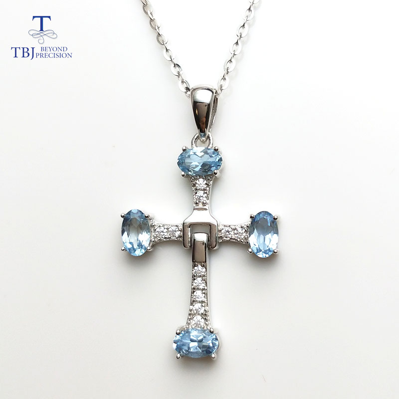TBJ,925 sterling silver cross pendant with oval cut 3*5mm natural Aquamarine gemstone,pendant with chain for girls with gift boxTBJ,925 sterling silver cross pendant with oval cut 3*5mm natural Aquamarine gemstone,pendant with chain for girls with gift box