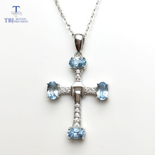 925-Sterling-Silver Cross-Pendant Natural Aquamarine Chain with Oval-Cut 3--5mm for Girls