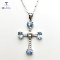 TBJ,925 sterling silver cross pendant with oval cut 3*5mm natural Aquamarine gemstone,pendant with chain for girls with gift box