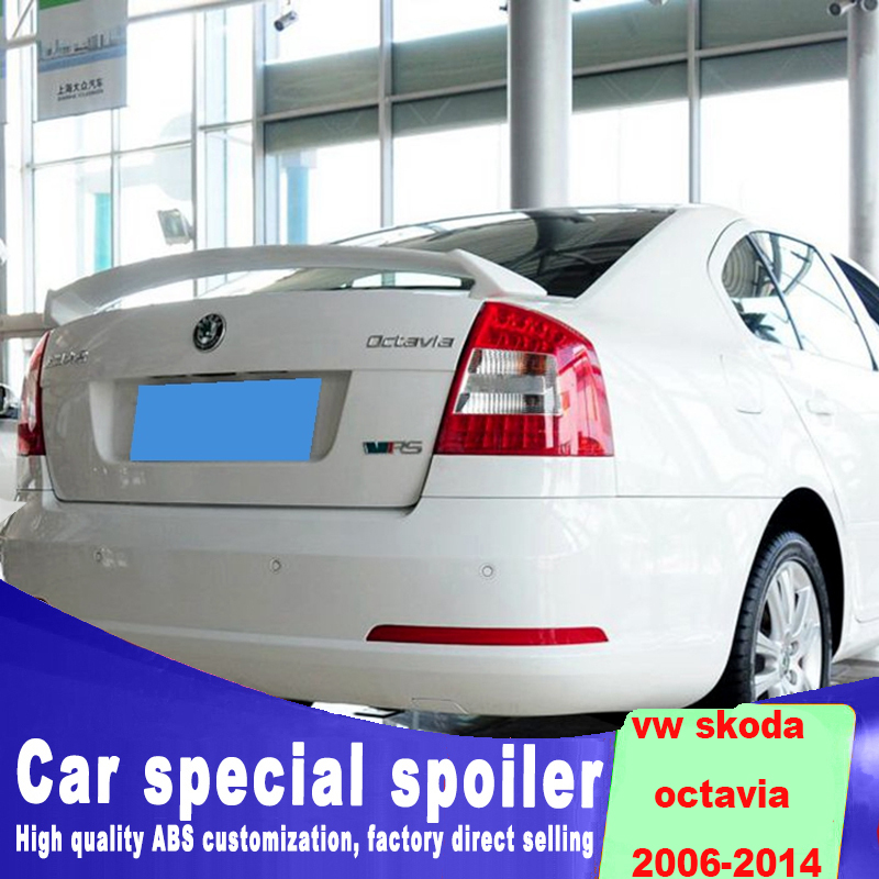 Fixed punching installation for 2006 to 2014 Volkswagen VW SKODA Octavia rear trunk sings spoiler spoiler by white black primerFixed punching installation for 2006 to 2014 Volkswagen VW SKODA Octavia rear trunk sings spoiler spoiler by white black primer