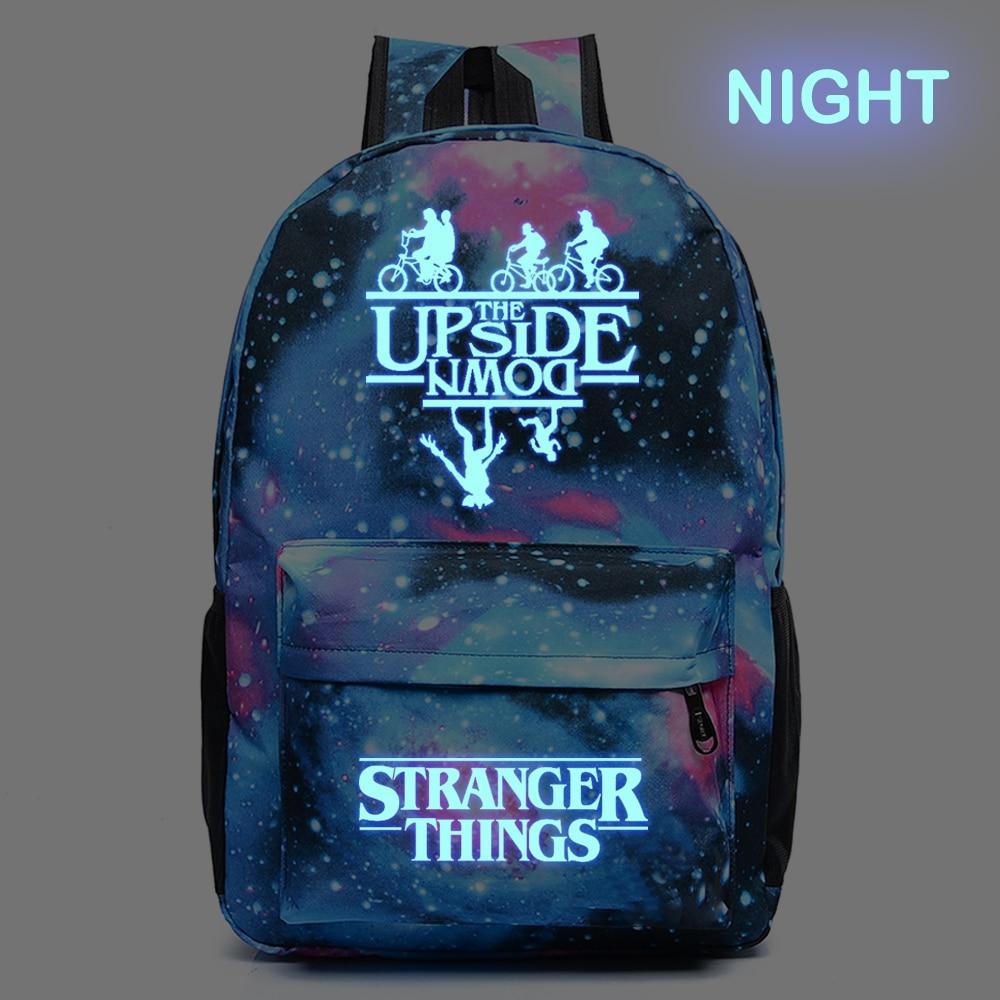 Wishot Stranger Things Backpack Teenagers Student School Bags Travel Shoulder Bag Laptop Bags Star Sky Luminous