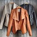 Moda Vintage para mujer chaqueta de cuero delgada del motorista de la motocicleta chaqueta de la capa corta
