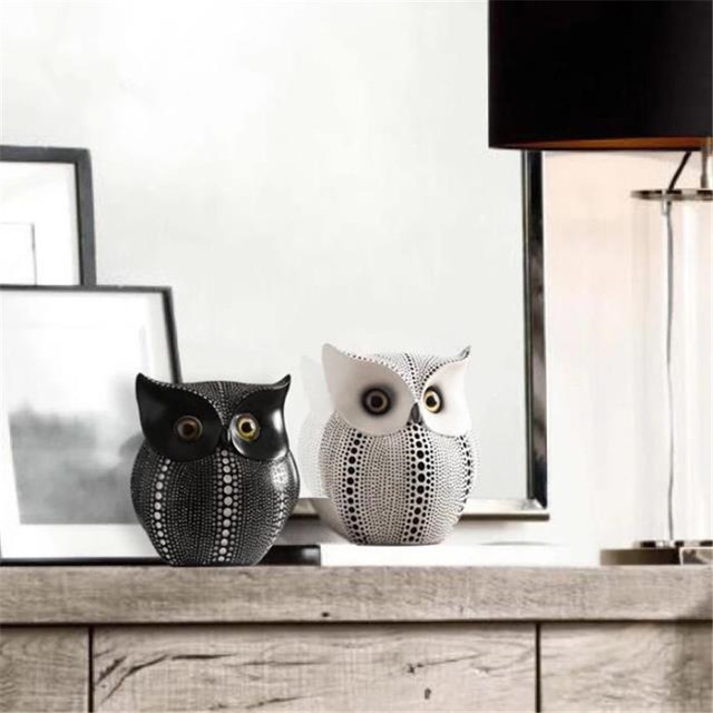 Black Or White Popular Minimalist Owl Home Decorations Resin Owl Accessories  Living Room Ornaments