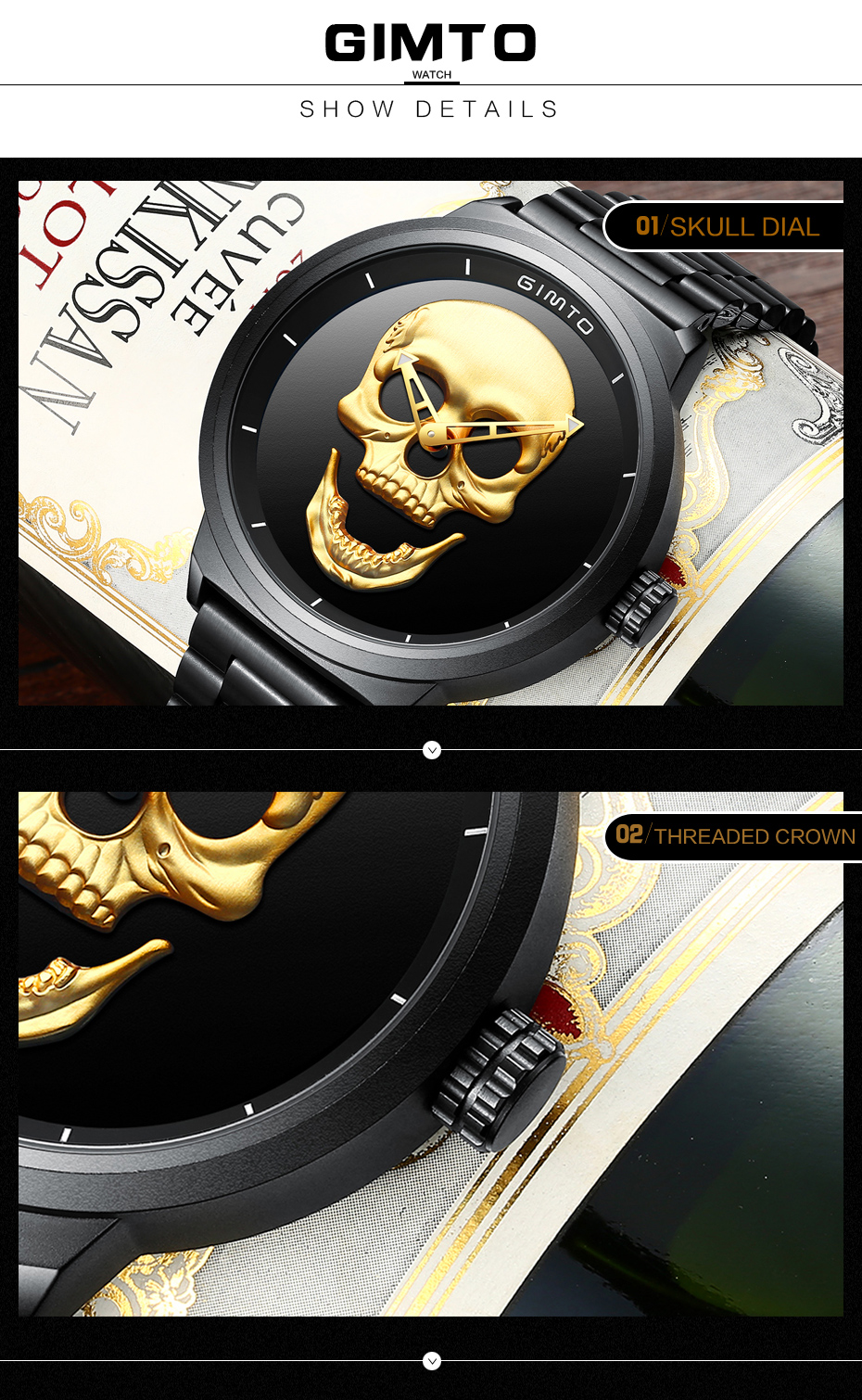 2018 Cool Punk 3D Skull Men Watch Brand GIMTO Luxury Steel Gold Black Vintage Quartz Male Watches sport clock Relogio Masculino 22