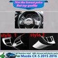 Для Mazda CX-5 CX5 2015 2016 детектор палку стиль крышка ABS Chrome руль внутренний Интерьер Комплект Отделка рамка светильника 2 шт.