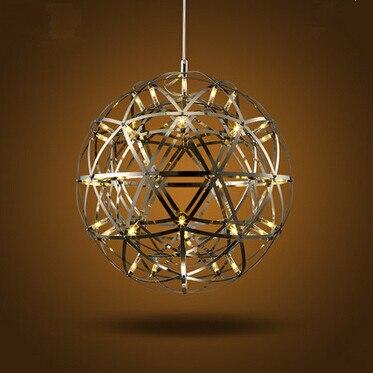 LED boule de feu lustre lampe personnalité créative fer restaurant hôtel Arcade planète feux d'artifice lustres, Dia: 50 Cm, AC220V.