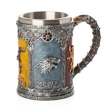 Game of Thrones Signets Tankard Coffee Mugs Stainless Steel Resin Cups and Mugs Creative Drinkware Mark(China)