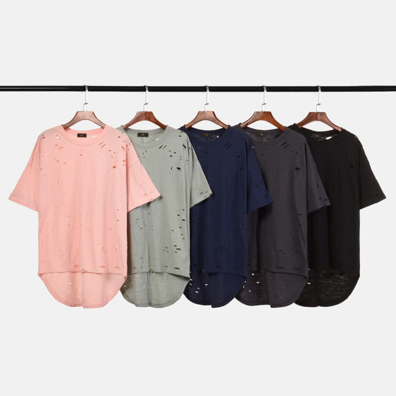 QoolXCWear 2019 New Mens Tshirt Spring Irregular Hole T Shirt Men hip hop  Summer Short Sleeve men tee top