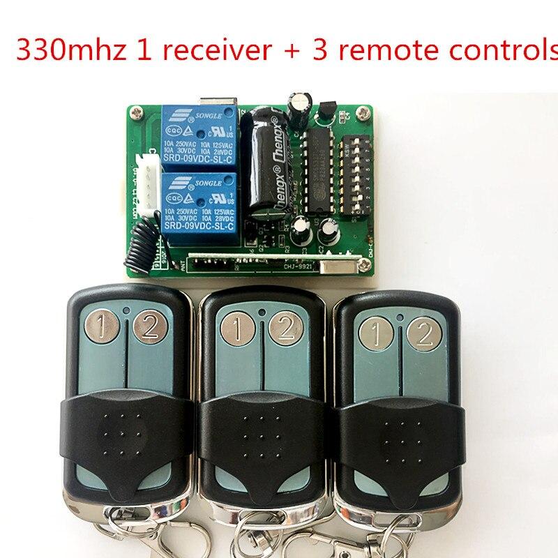 Malaisie 5326 330 mhz dip commutateur auto porte 3 télécommande + 1 récepteur, émetteur, porte-clés avec métal couvercle coulissant