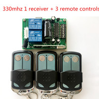 Malaysia 5326 330mhz dip switch auto gate 3 remote control + 1 receiver, transmitter,keyfob with metal sliding cover