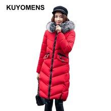 KUYOMENS] winter coat women wadded jacket outerwear female long print letter thickening parkas fashion slim cotton-padded coat