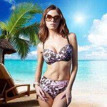 Hot sale Bikinis For Women 2017 Summer nylon elastan Full Cup 70D 85D Bralette and Sexy Brown Print L 2XL Ladies Underwear