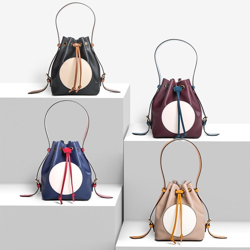 Femmes split cuir sacs à main ensemble 2018 togo seau sacs célèbre marque designer cordon sac fourre-tout sacs composites de haute qualité