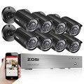 Zosi 8ch dvr 720 p hdmi cctv sistema de gravador de vídeo 8 pcs 1280tvl waterproof night vision camera de vigilância de segurança em casa kits