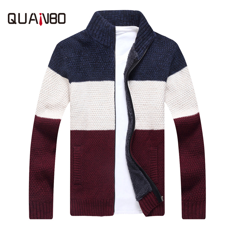 QUANBO Autumn Whiter Fleece Thick Keep Warm Cardigan Men Sweater 2018 New High Quality Fashion Striped Knitted Male Sweaters 3XL