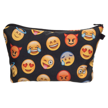 Fashion Trend Cosmetic Bag Women Neceser Portable 3D Print Black Emoji Make Up Bag Organizer Bolsa feminina Travel Toiletry Bag