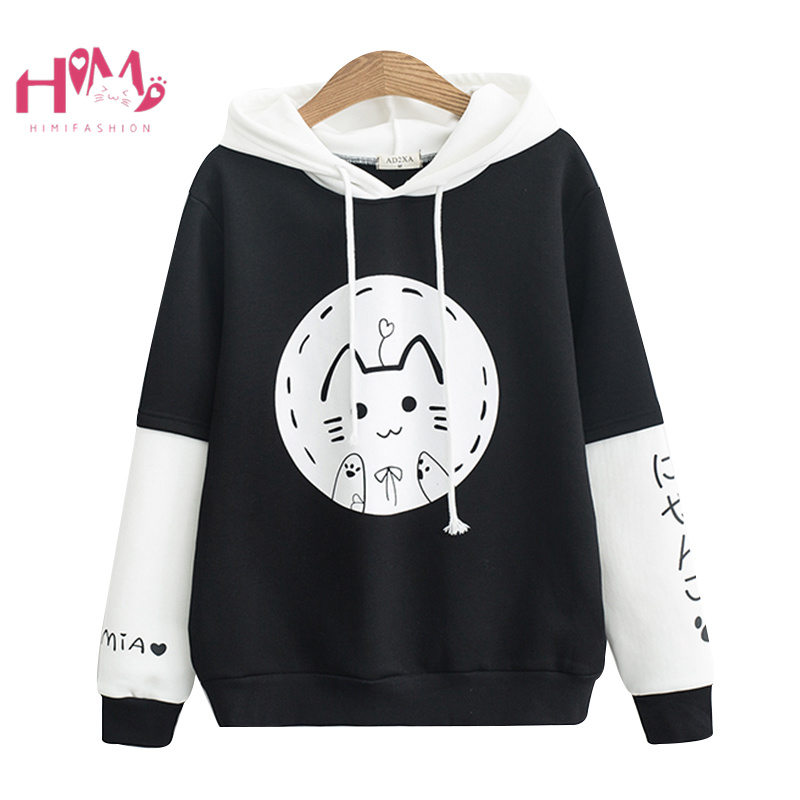 84334a23c7c Harajuku Kawaii Black Women Hoodies Kpop Lovely Cartoon Clothes Sweatshirts  Cute Round Face Cat Anime Graphic