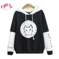 Harajuku Kawaii Black Women Hoodies Kpop Lovely Cartoon Clothes Sweatshirts Cute Round Face Cat Anime Graphic Mori Girl Pullover