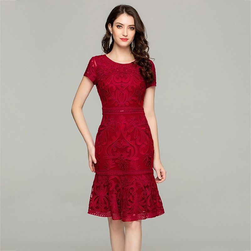 Été broderie robe 2019 femme Vintage maille élégante robe mi longue femmes vêtements grande taille 4xl demoiselles d'honneur Vestidos MY2449 - 2
