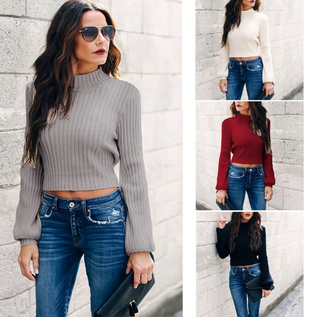 ea2944814 Fashion Women Open Back Cropped Pullover Sweater High Turtle Neck Long  Sleeve Solid Color Knit Casual Tops Swater Jumper