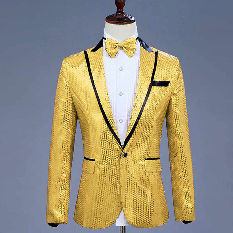 ... Mens Glitter Blazer Jacket With Bow Tie Pink Sequins Dress Suit Men  Nightclub Prom Stage Show ... 4f78b038057f
