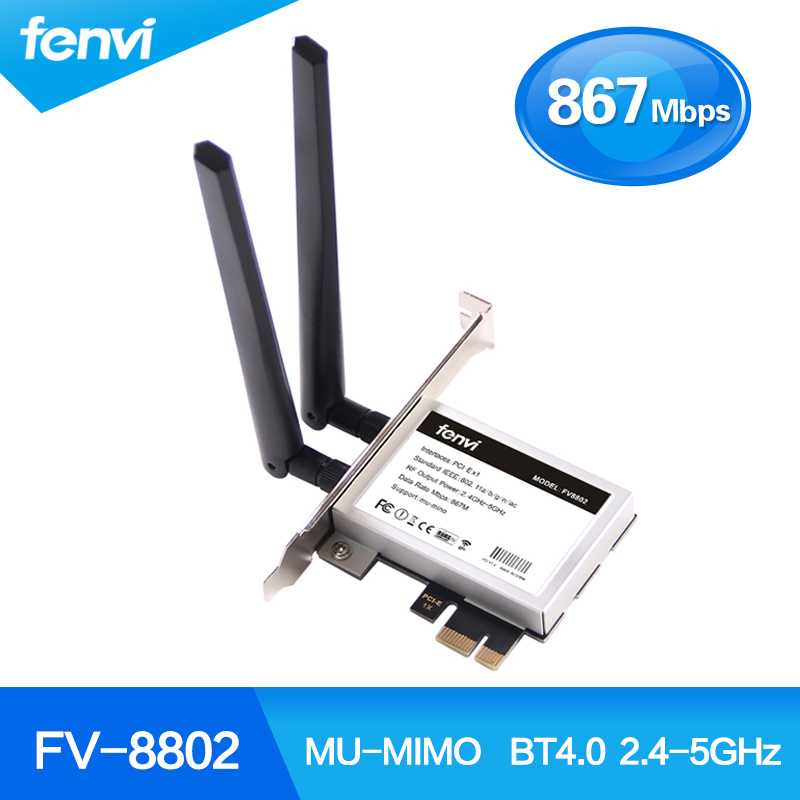 Fenvi Wireless-AC 8265 867Mbps 802.11 AC Dual Band Desktop PCI-E WiFi Adapter PCI Express Card For Intel 8265AC + Bluetooth 4.2
