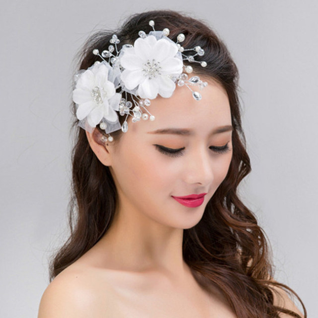 White Lace Flowers Hairband Crystal Beads Princess Bridal Headband Forehead  Hairwear Jewelry Marriage Party Wedding Accessories 2ecfc608b7e