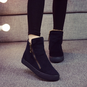Image 2 - Women Boots Winter Plush Warm Ankle Snow with Zippers Ladies Fur Platform Shoes Comfort Thick Sold Black Botas Mujer