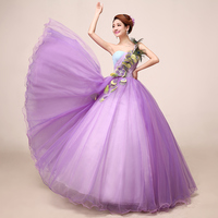 100%real beading light purple peacock feather ball gown Medieval dress Renaissance gown princess cosplay Victorian Belle Ball