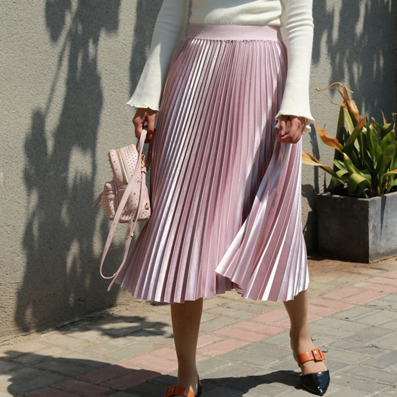 Fanco Autumn Women Long Skirts Fashion Brand A-Line Women Pleated Skirts High Waist Women Midi Skirt