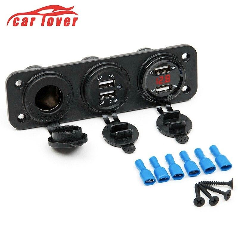 Prise 4 USB voiture moto prise allume-cigare chargeur voiture LED affichage numérique voltmètre numérique 12 V compteur de tension électrique
