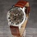 Claro esqueleto hollow diseño de marca de moda reloj de los hombres mecánicos de lujo masculino relojes ejército regalo del deporte del reloj de pulsera de negocios