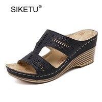 New Women Casual Platform Wedge Slippers Vintage Open Toe High Heels Ladies Slides Comfortable Mother Summer