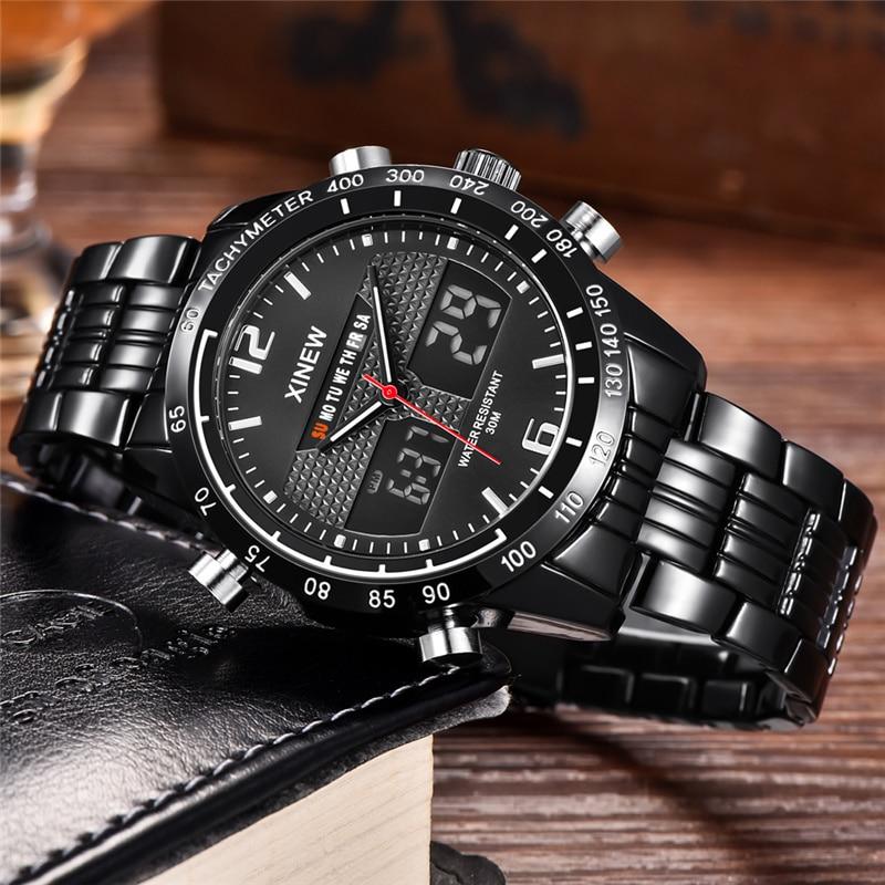 Quarz-uhren Uhren Unter Der Voraussetzung Xinew Led Digital Dual Display Armbanduhr Männer Wasserdichte Kalender Edelstahl Uhr Luxus Marke Männlichen Quarz Sport Uhren Elegant Und Anmutig
