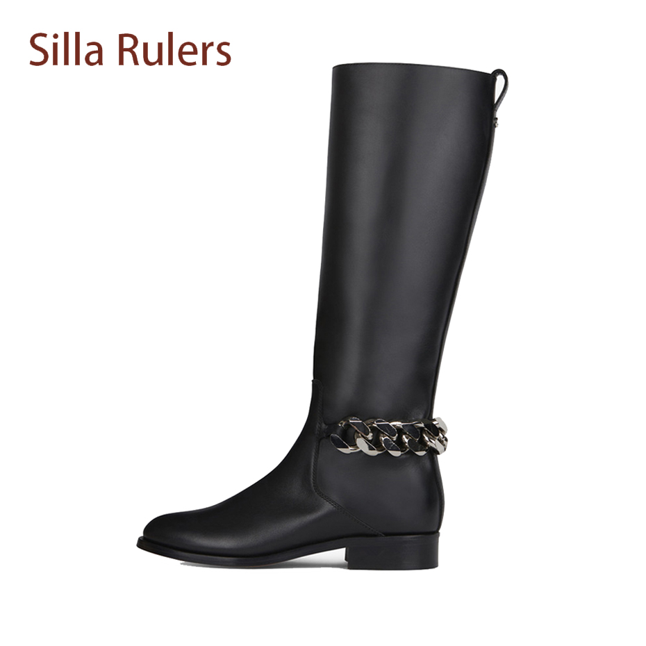 Silla Rulers Black Genuine Leather Crystal Low Heel Winter Shoes Women Knee High Boots Metal Chain Design Cozy Knight Long Boots trendy metal and rhinestones design women s knee high boots