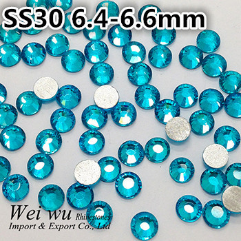 Aquamarine Shiny Brightly SS30 12 Facets None HotFix Machine Cut Rhinestones
