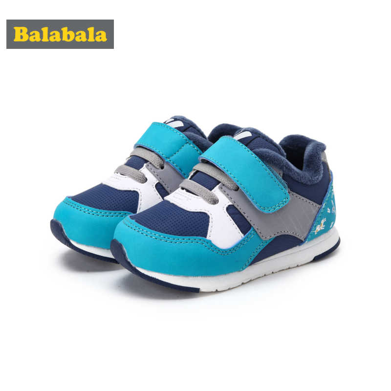 Balabala Toddler Boy Fleece-Lined Sneakers with Hook-and-loop Strap Kids Boy Running Sneaker Padded Collar and Insole