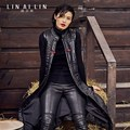 Women's Leather Coat Chinese Style Embroidery Plus Cotton Vest  GSJ015