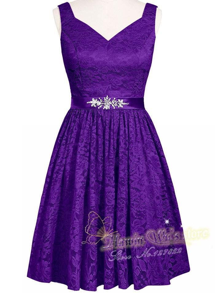 Vestido Madrinha Cheap Short Lilac/Lavender Lace Bridesmaid Dresses ...