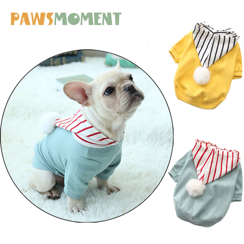 Wool Ball Cotton Puppy Striped Hoodies Spring Summer Dog Soft Clothes For Small Dogs French Bulldog Chihuahua Lovely Sweater